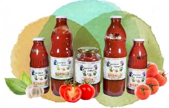 Pulpa de Tomates y Tomates peritas en Mitades